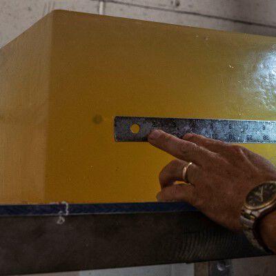 bullet penetration in ballistics gel being measured